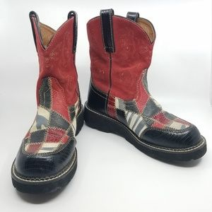 """Artist """"Fat Baby """" Patchwork Leather Boots - 9.5"""